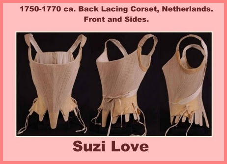 1750-1770 ca. Back Lacing Linen Corset, European. Made of linen, lining of natural linen, chamois leather to strengthen, straps of linen, stiffening of whalebone.